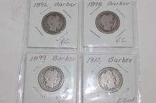 4 BARBER HEAD DIMES - 1892, 1899, 1898, 1912 VERY GOOD
