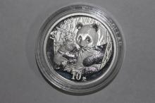 2005 CHINESE PANDA SILVER PROOF 1 OUNCE .999 SILVER - OBVERSE MOTHER PANDA WOULD BABY - REVERSE CHINESE TEMPLE