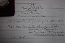 1991 BILL OF RIGHTS PROOF BICENTENNIAL COMMEMORATIVE - OBVERSE READS BILL OF RIGHTS 1771- 1991 - REVERSE READS