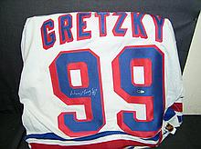 AUTHENTIC GAME WORN NEW YORK RANGER WAYNE GRETZKY JERSEY AUTOGRAPHED
