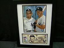 MICKEY MANTLE/YOGI BERRA AUTOGRAPHED PICTURE W/ FIRST-DAY ISSUE MICKEY MANTLE COMMEMORATIVE