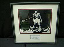SIGNED MOHAMMED ALI 8 X 10 KNOCKING OUT SONNY LISTON