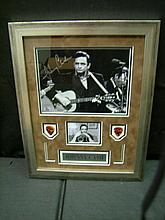 ONE-OF-A-KIND JOHNNY CASH FRAMED AUTOGRAPHED PHOTO / 2 USED PICS & PLAQUE COA