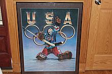 USA OLYMPIC ARTIST SIGNED POSTER SHEILA WOLK 36 X 28