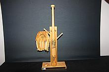 KANSAS CITY ROYALS 3 PIECE COLLECTIBLE BAT, GLOVE & RACK - SOLID OAK