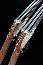 A. A. BROWN & SONS A FINE PAIR OF 12-BORE ''SUPREME DELUXE'' SELF-OPENING SIDELOCK EJECTOR GUNS, NOS. 79715/6 28-inch chopper-lump barrels with 2 1/2-inch chambers, about 1/4 choke borings, engraved breeches, the frames, locks and gold numbered top