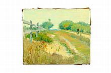 LANDSCAPE BY JOHN HENRY TWACHTMAN (AMERICA, 1853-1902).