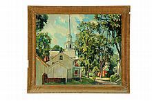 LANDSCAPE WITH CHURCH BY WILLIAM LESTER STEVENS (AMERICA, 1888-1969).