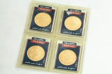 4 ONE GUINEA GOLD COINS 1950 AH1370.