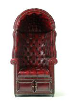 ENGLISH TUFTED LEATHER PORTER ARMCHAIR.
