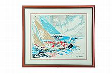 AMERICA'S CUP PRINT BY LEROY NEIMAN (AMERICAN, 1927-2012).