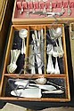 SET OF DOMINICK & HAFF STERLING SILVER FLATWARE. In Broad Antique pattern. Eight dinner knives. 7 1/4