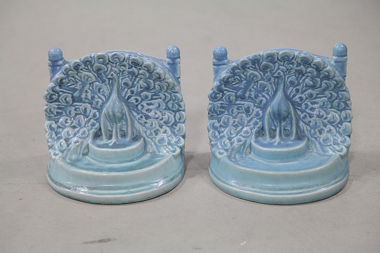 PAIR OF ROOKWOOD BOOKENDS.