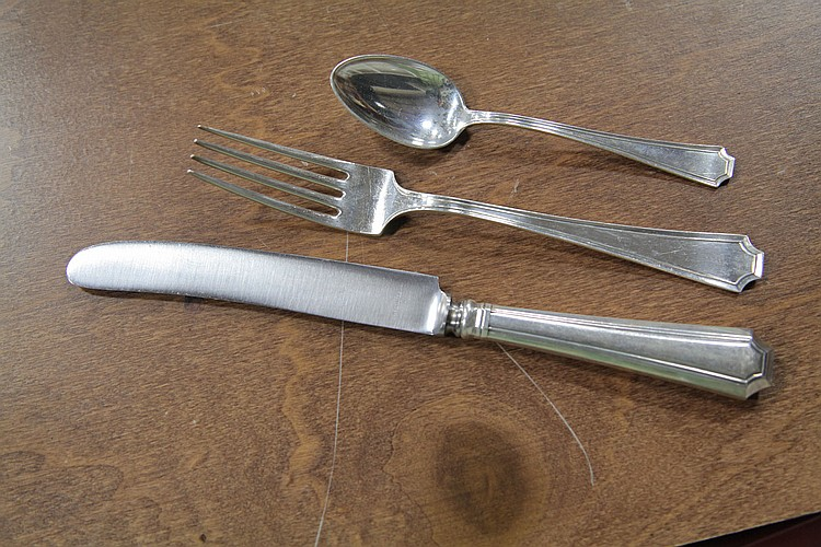 SET OF DURGIN STERLING SILVER FLATWARE.