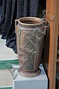 ROSEVILLE UMBRELLA STAND. Double handled in Florentine pattern. Stamped with the