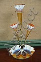 ART GLASS EPERGNE. Opalescent orange and white with ruffled rims and applied foliate collars. 19 1/2
