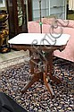 VICTORIAN MARBLE TOP TABLE. White marble having canted corners on a carved walnut base with shaped legs. 30