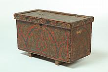 DECORATED MINIATURE BLANKET CHEST.
