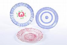 THREE SPATTERWARE PLATES.
