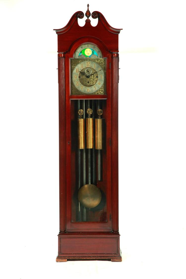 COLONIAL MANUFACTURING COMPANY TALL CASE CLOCK.