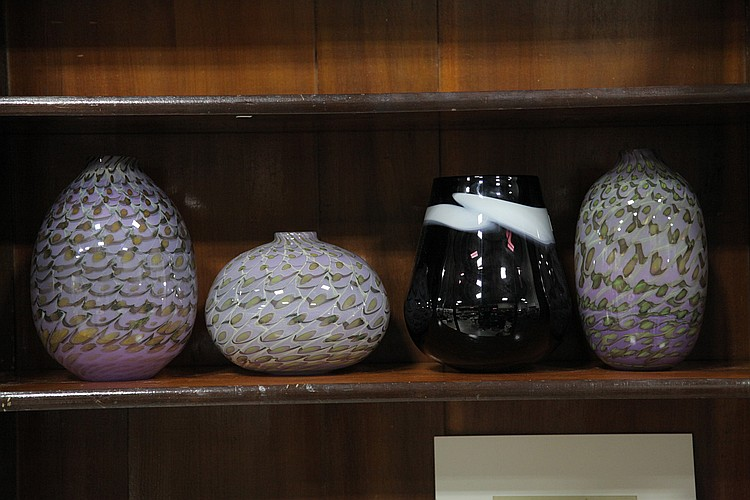 FOUR BLACKSTONE ART STUDIO VASES.