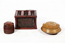 THREE WOODEN ITEMS.
