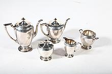 FIVE PIECE STERLING SILVER TEA SET.
