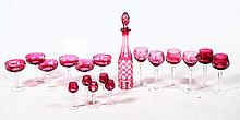 GROUP OF CRANBERRY CUT GLASS.