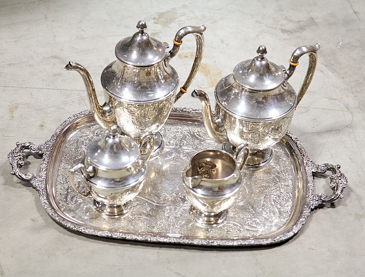FIVE PIECE DUNKIRK STERLING COFFEE/TEA SERVICE.