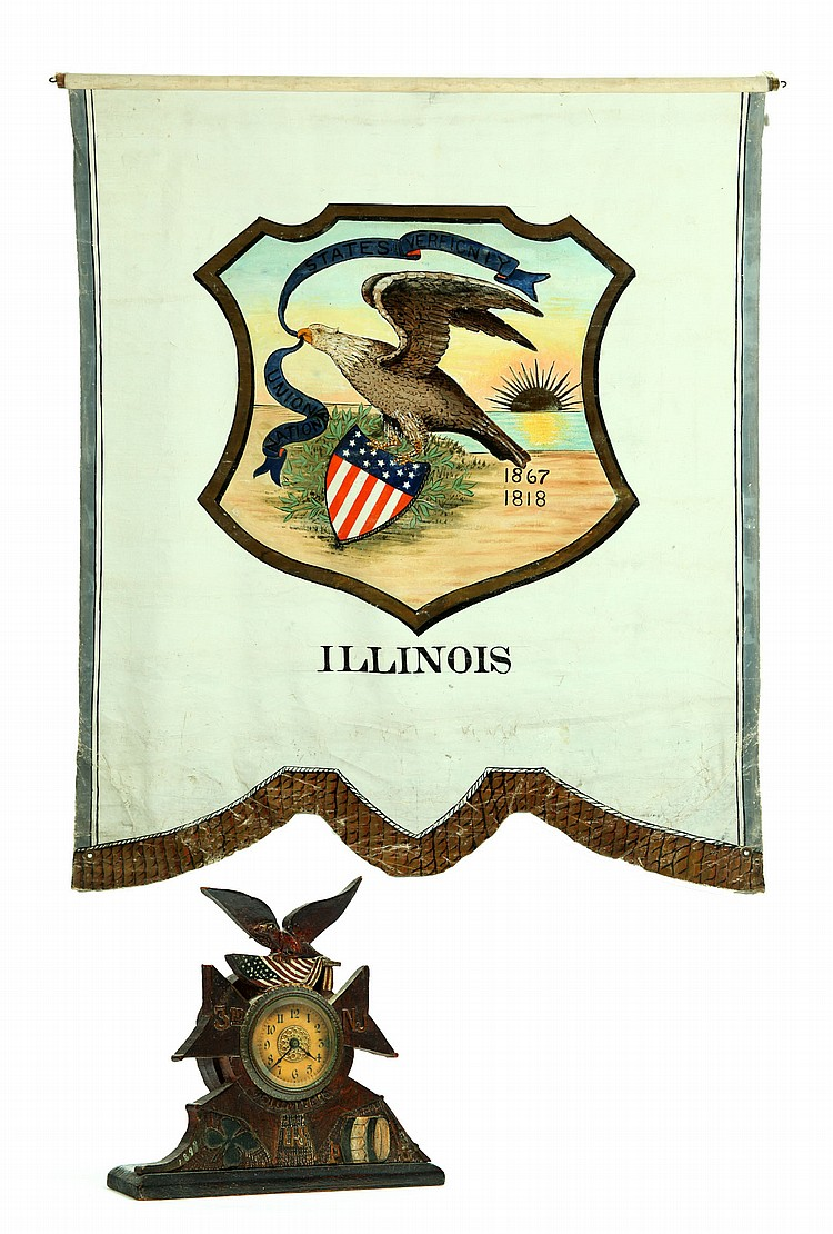 POLITICAL ILLINOIS BANNER AND GAR SHELF CLOCK.