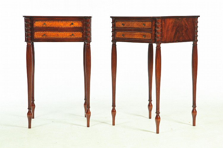 PAIR OF SHERATON-STYLE WORK TABLES.