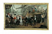 NAPOLEONIC NAVAL BATTLE SURRENDER SCENE BY J. W. RILEY (CONTINENTAL SCHOOL, 19TH CENTURY).