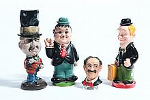 FOUR MOVIE/TELEVISION CHARACTER NOVELTY FIGURES.
