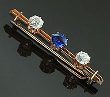 SAPPHIRE AND DIAMOND BAR PIN