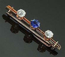SAPPHIRE AND DIAMOND BAR PIN