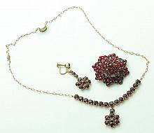 SUITE OF GARNET JEWELRY