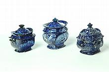 THREE PIECES OF HISTORICAL BLUE STAFFORDSHIRE.