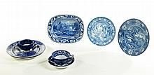 SEVEN PIECES OF BLUE STAFFORDSHIRE ROMANTIC TRANSFER.