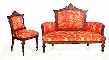 EASTLAKE SETTEE AND SIDE CHAIR.
