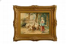 FRAMED WATERCOLOR BY J.H. DILLE (OHIO, B. 1820).