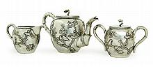 THREE-PIECE SILVER TEA SET.