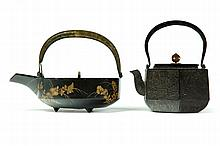 IRON SAKE KETTLE AND TEAPOT.