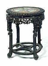 CARVED TABLE WITH ROSE MEDALLION INSERT.