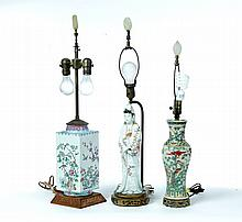 THREE CERAMIC TABLE LAMPS.