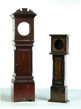 TWO MINIATURE TALL CASE CLOCK WATCH HUTCHES.