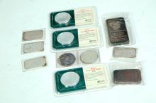 GROUP OF STERLING INGOTS AND COINS.