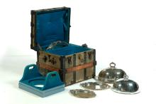 SIX WONDERFUL MATCHING GORHAM GRADUATED SET OF SILVER PLATE FOOD DOMES AND TRAYS.