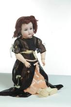 LARGE BISQUE HEAD DOLL MARKED SIMON AND HALBIG.