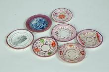 SEVEN PINK LUSTER CUP PLATES.