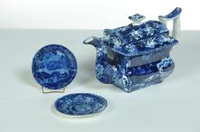 THREE PIECES OF HISTORICAL BLUE CHINA.